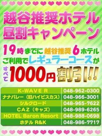 越谷推奨ホテル昼割キャンペーン 新世紀 (越谷発)