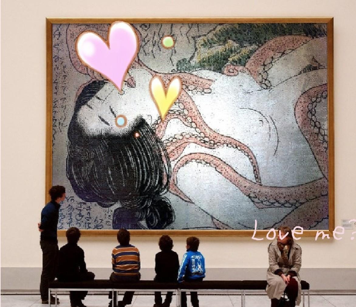 葛飾北斎--蛸と海女